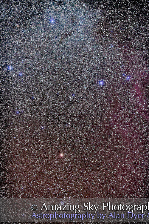 False Cross (Vela and Carina), taken from Atacama Lodge, Chile, March 2010, with Canon 5D MkII (modified) and Canon L-series 135mm lens at f/2.8 for stack of 4 x 4 minute exposures at ISO 800. Slight trailing. Cluster NGC 2516 is at bottom, cluster IC 2391 as at right.