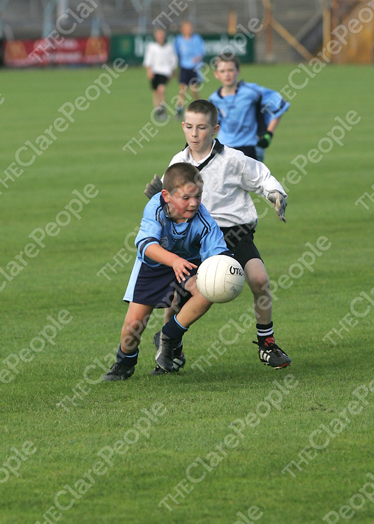 Corraclare Dillon Dunne and Ennistymons Jamie McGoagle in action at the Football Blitz in Cusack Park Ennis Co. Clare.<br />