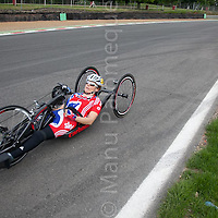 © Licensed to London News Pictures. 19/06/12. Brands Hatch, Kent. GB Paralympic cyclist Karen Darke trains at Brands Hatch, Kent. Up to 150 international athletes come to train at the race circuit at Brands Hatch in Kent for the Paralympic Road Cycling competition taking place on 5-8 September 2012. Picture credit should read Manu Palomeque/LNP