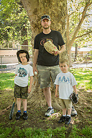 """""""Over the last 3 yrs I have learned that tee ball is about keeping the kids excited about the sport. It's not always about teaching them the proper techniques. I get surprised everytime one of my players makes an amazing catch or gets great contact on the ball with the bat. Which makes this worth every minute I volunteer. """"                                      - Calistoga T-Ball Tigers coach and wine salesman Keegan Barrett with his sons, Kooper (6) and Easton (3), are the first to arrive for practice at the Calistoga Elementary School."""