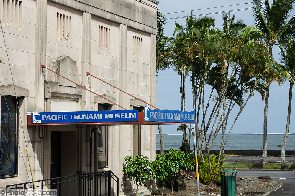Hilo's Tsunami Museum was established in 1997 inside the 1930 First Hawaiian Bank building. The movie room is in the old bank vault. Hilo is on the Big Island of Hawaii, USA.