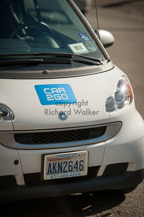 2016 October 11 - Car2Go Smart Car parked in the University District, Seattle, WA, USA. By Richard Walker