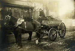 Antique, early 1900's, driver of horse drawn coal delivery wagon.  Reading, PA.