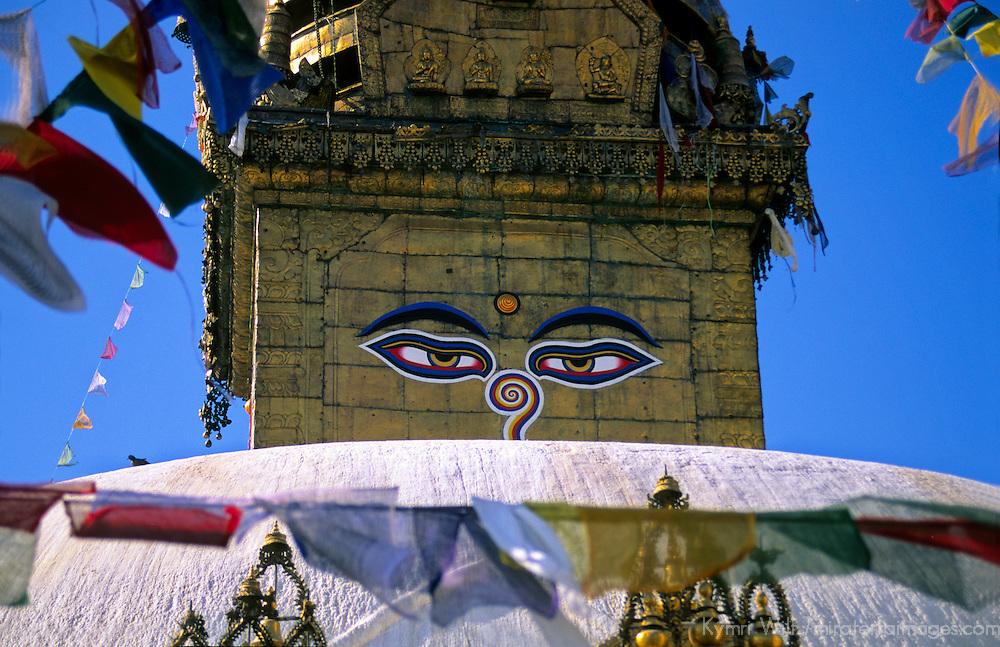 Asia; Nepal; Kathmandu. Eyes of Buddha on stupa.