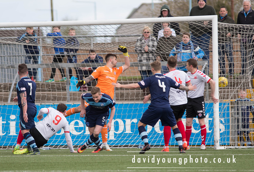 Forfar's Thomas O'Brien begins to celebrate as his header hits the net to complete the scroring during Forfar's 3-0 win over Clyde in SPFL League Two  at Station Park, Forfar, Photo: David Young<br /> <br />  - &copy; David Young - www.davidyoungphoto.co.uk - email: davidyoungphoto@gmail.com