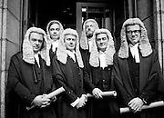 Calls to the Bar: newly qualified lawyers at the Four Courts, Dublin. (l&ndash;r:) Paul Carney, Rathmines, Dublin; Peter Sutherland, Blackrock, Dublin; Frank Spain, Lansdowne Road, Dublin; John D Cooke, Churchtown, Dublin; David Montgomery, Blackrock, Dublin; and Eoghan Fitzsimons, Howth, Dublin.<br />6 October 1980