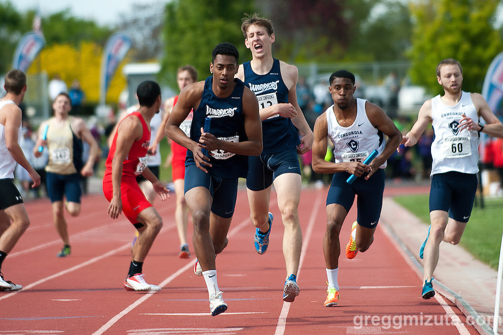 Corban junior Jacob Ybarra starts the third leg of the Cascade Conference Championships 4x400 on May 10, 2014 at Northwest Nazarene University, Nampa, Idaho. Corban finished second (3:18.16) behind Concordia (3:15.17).