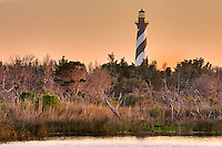 Cape Hatteras Lighthouse on Hatteras Island at sunrise.