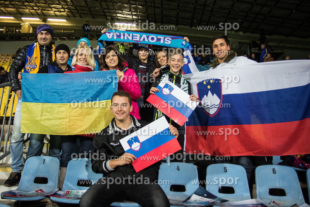 Slovenian and Ukraine fans before the UEFA EURO 2016 Play-off for Final Tournament, Second leg between Slovenia and Ukraine, on November 17, 2015 in Stadium Ljudski vrt, Maribor, Slovenia. Photo by Ziga Zupan / Sportida