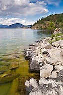 Rocky shore at Okanagan Lake in Ellison Provincial Park just outside Vernon, British Columbia, Canada