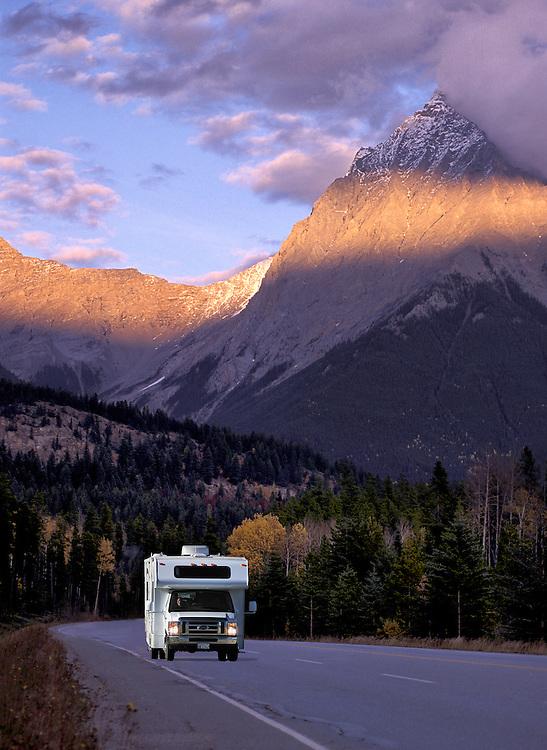 Truck on Trans Canada Highway, Glacier National Park, British Columbia, Canada