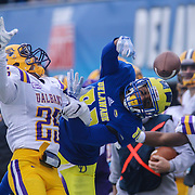 Albany defensive back Jamal Robinson (25) deflect the ball as Delaware wide receiver Diante Cherry (80) attempts to catch the ball during a week nine Colonial Athletic Association Conference game between the Delaware Blue Hens and the Albany Great Danes Saturday, Nov. 07, 2015 at Tubby Raymond Field at Delaware Stadium in Newark, DE.