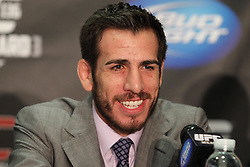 October 5, 2011; Houston, TX.; USA;  Kenny Florian speaks at the final press conference for his fight against UFC Featherweight Champion Jose Aldo at UFC 136.