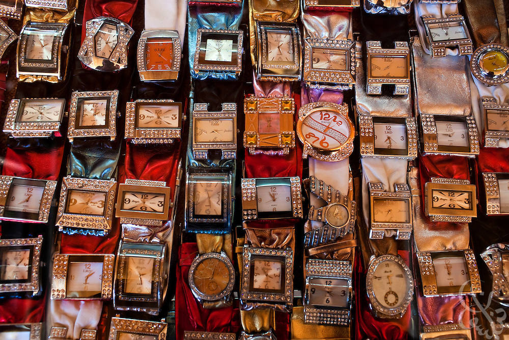 With more than a thousand smuggling tunnels running under the Gaza-Egypt border, the supply food and goods is so plentiful in the markets of Gaza that even luxury items like watches, seen here for sale December 20, 2009 are for sale in the market stalls in Rafah, Gaza. Despite the 22 day Israeli offensive last year in Gaza, tunnels have proliferated to the point where the vast supply of goods has exceeded demand, causing prices to dramatically fall and tunnel profits to plummet.