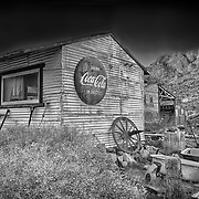 Drink Coca Cola Tin Shack - Eldorado Canyon Techatticup Mine - Nelson NV - HDR -  Infrared Black & White