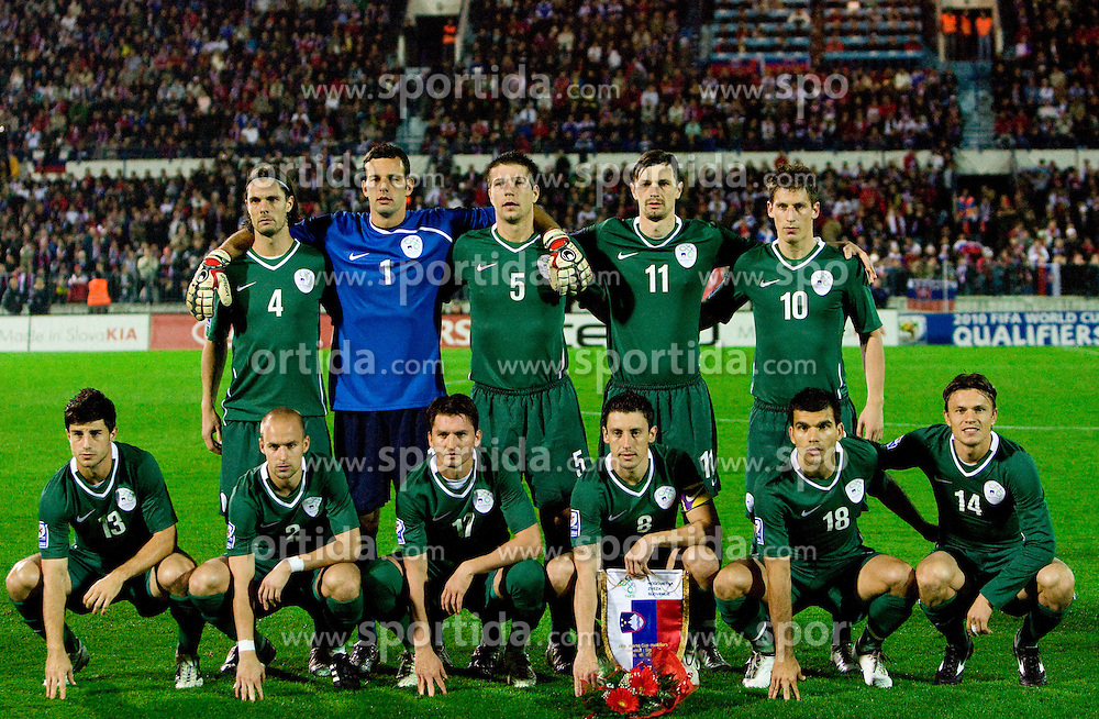 Team of Slovenia (1st line from L: Bojan Jokic, Miso Brecko, Andraz Kirm, Robert Koren, Aleksander Radosavljevic and Zlatko Dedic, 2nd line: Marko Suler, Samir Handanovic, Bostjan Cesar, Milivoje Novakovic and Valter Birsa)  at  the 2010 FIFA World Cup South Africa Qualifying match between Slovakia and Slovenia, on October 10, 2009, Tehelne Pole Stadium, Bratislava, Slovakia. Slovenia won 2:0. (Photo by Vid Ponikvar / Sportida)