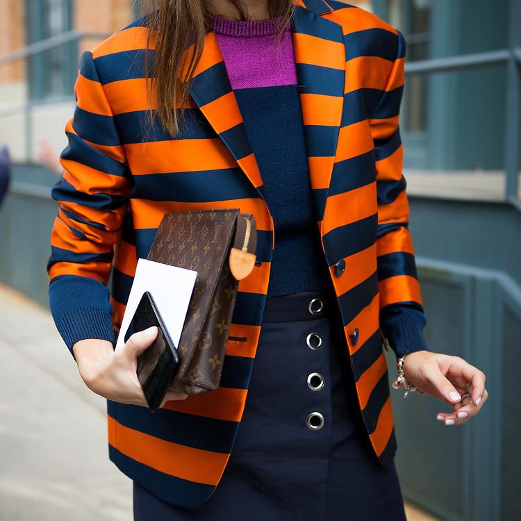 Carolina Herrera Striped Jacket and Louis Vuitton Clutch, Outside Carolina Herrera FW2017