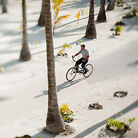 Bicycling on an island in Bora Bora