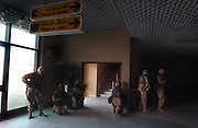 U.S. Army 3rd Division 3-7 soldiers capture the main terminal of Baghdad International Airport April 4, 2003 during an allied advance on the Iraqi capital. U.S. and Iraqi forces exchanged heavy fire throughout the day as they battled for control of the strategic facility.