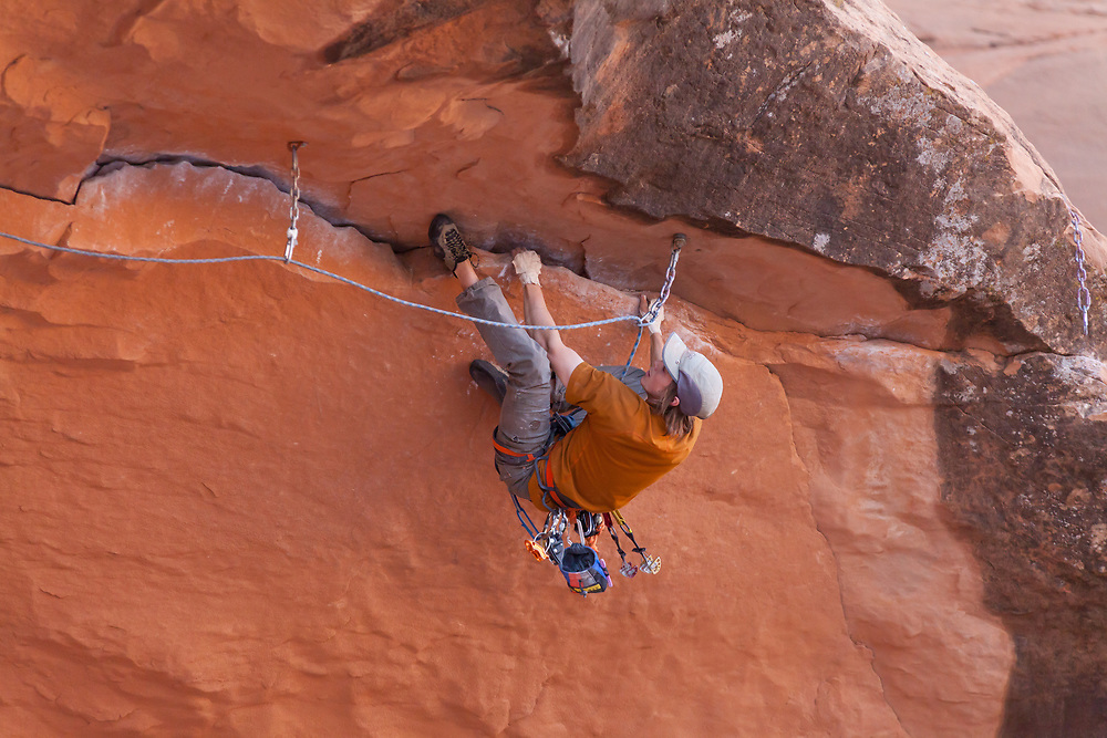 Evan Britts on Horizontal Mamba, 5.12+, Wallstreet, Moab, Utah