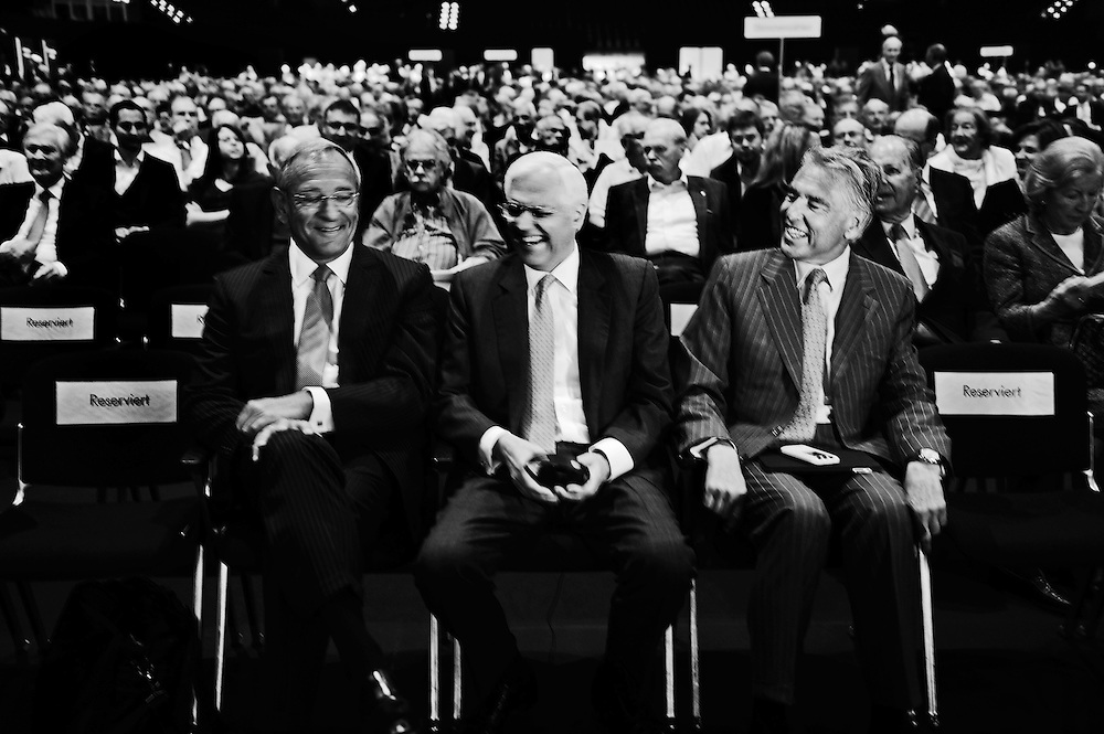 Board members of Credit Suisse laughing before the AGM, including Peter Brabeck-Letmathe, who is also chairman of Nestlé.