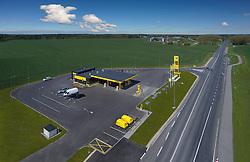 Olerex gas station in Põlva, Estonia. Roadside petrol station, aerial view.
