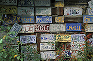 License plates at Arctic Circle Trading Post, Dalton Highway, Alaska, USA