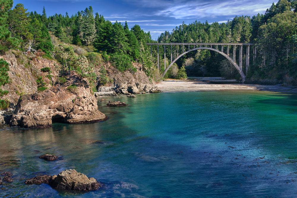 Russian Gulch Bridge Highway 1 Wide View - Mendocino, CA - HDR