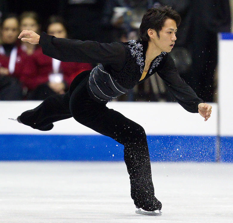 GJR362 -20111028- Mississauga, Ontario,Canada-  Daisuke Takahashi of Japan skate their short program at Skate Canada International, in Mississauga Ontario, October 28, 2011.<br /> AFP PHOTO/Geoff Robins