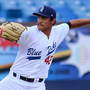 Wilmington Blue Rocks starting pitcher Sean Manaea (40) pitching during a MLB minor league regular season baseball game between the Wilmington Blue Rocks and Winston-Salem Dash Monday, April 14. 2014 at Daniel S. Frawley Stadium in Wilmington, DEL.