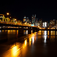 Downtown Portland at night from across the Willamette River.