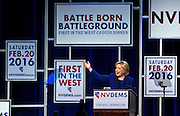 """Hillary Clinton addresses supporters during the Nevada State Democratic Party """"Battle Born / Battleground"""" First in the West Caucus Dinner at The MGM Grand on Wednesday, January 6, 2015.  L.E. Baskow"""