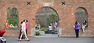 People and Triangle Garden in Empire-Fulton Ferry State Park.
