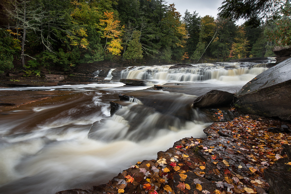 Manido Falls, one of several beautiful waterfalls along the scenic Presque Isle River.<br />