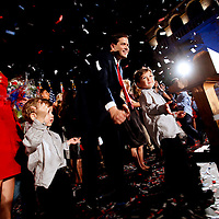 CORAL GABLES, FL -- November 2, 2010 -- Republican Senate candidate Marco Rubio celebrates after his win was called at The Biltmore Hotel in the Coral Gables area of Miami, Fla., on the Mid-Term Election Day on Tuesday, November 2, 2010.  Rubio won the three-way race for the seat over Independent Gov. Charlie Crist and Democrat Kendrick Meek.