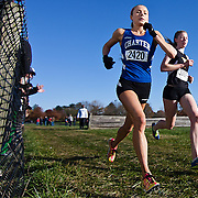 11/05/11 Wilmington DE: Charter School of Wilmington Senior Julie Macedo (Left) and Tatnell Senior Haley Pierce (Right) running side by side during The New Castle County high school cross country Championship Sat, Nov. 05, 2011 at Winterthur Estate in Wilmington Delaware.<br /> <br /> Special to The News Journal/SAQUAN STIMPSON
