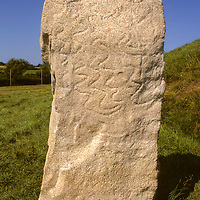 Europe, United Kingdom, Wales, Angelesey. Replica of a carved stone found inside the ancient burial chamber of Bryn Celli Ddu, c. 2000BC, a CADW Welsh Heritage Site.