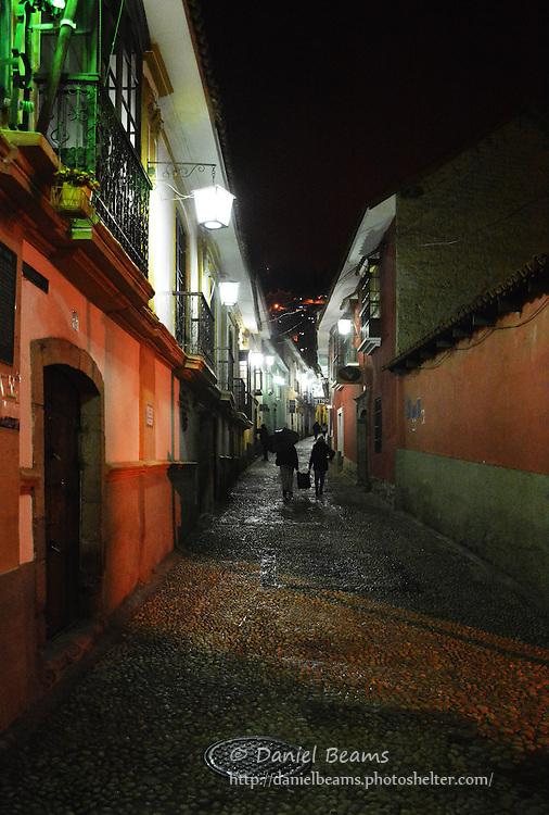 Night street scene in La Paz, Bolivia
