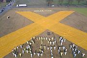 Aktivisten der Umweltschutzorganisation Greenpeace haben ind er Nähe des Dannenberger Castor-Umladebahnhofs ein riesiges gelbes Stoff-X ausgerollt. Das X ist das Symbol des Widerstand im Wendland gegen die Atomtransporte nach Gorleben.