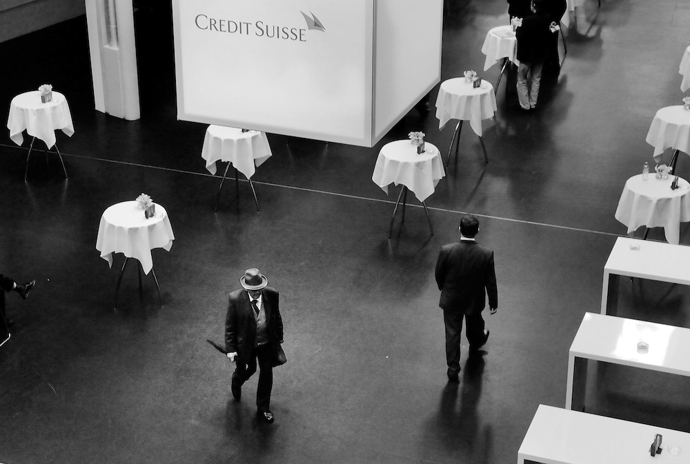 Shareholder leaving the annual general meeting of Credit Suisse. There was general anger at the massive bonuses paid out to senior bankers, totalling a staggering CHF 3 billion ($3.12 billion), when the bank, the second largest in Switzerland, registered  losses of CHF 22 billion in 2008.