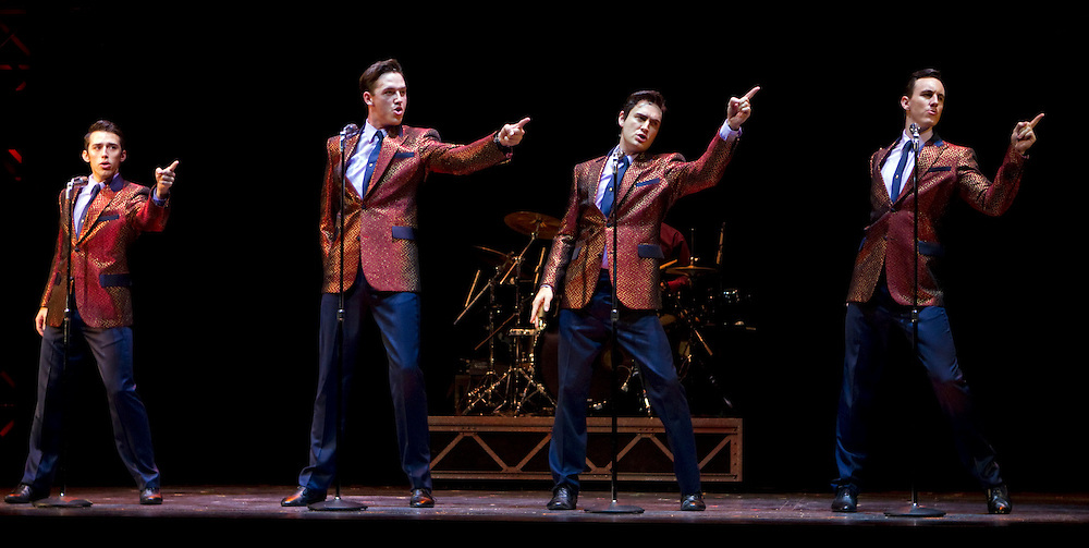 Dion Bilios as Frankie Valli, Declan Egan as Bob Gaudio, Anthony Harkin as Tommy De Vito and Glaston Toft as  Nick Massi perform in the media preview of stage musical show The Jersey Boys, Civic Theatre, Auckland, New Zealand, Thursday, April 12, 2012.  Credit:SNPA / David Rowland