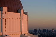 A sunset view of downtown Los Angeles from Griffith Observatory in Griffith Park.