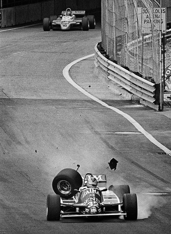 Rookie Riccardo Paletti in trouble when his Osella&rsquo;s right drive shaft broke over a bump during the 1982 Detroit Grand Prix. The car was destroyed, but he would walk away unscathed. <br /> <br /> Tragically, he would be killed a week later in Canada at the start. Launching his car from the last row in blinding rain, he would hit the rear of the nearly invisible Ferrari of Didier Pironi stalled on the grid and succumb to his injuries. <br /> <br /> He was never able to complete a single full grid Grand Prix race lap.