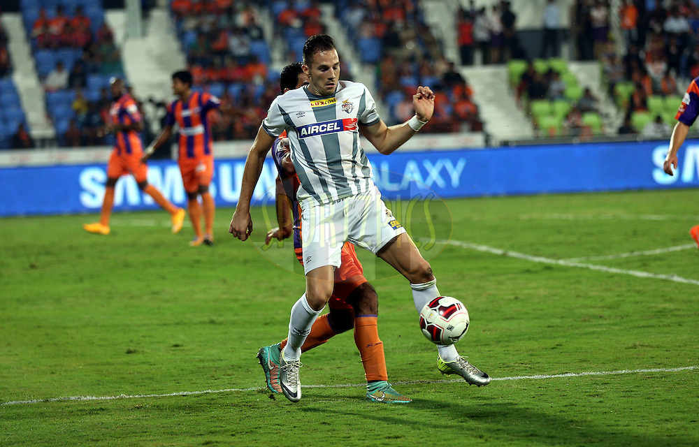during match 44 of the Hero Indian Super League between FC Pune City and Atletico de Kolkata FC held at the Shree Shiv Chhatrapati Sports Complex Stadium, Pune, India on the 29th November 2014.<br /> <br /> Photo by:  Sandeep Shetty/ ISL/ SPORTZPICS