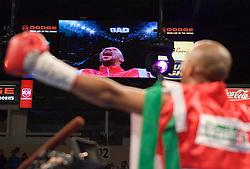 September 23, 2006 - Dodge Arena, Hidalgo, TX - Masibule Makepula watches himself on the big screen before his WBC Super Flyweight Eliminator against Jorge Arce.  Arce knocked out Makepula in the 4th round.