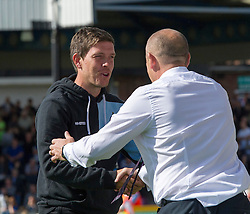 Bristol Rovers Manager Darrell Clarke shakes hands with Accrington Stanley Manager John Coleman - Mandatory by-line: Paul Knight/JMP - Mobile: 07966 386802 - 12/09/2015 - FOOTBALL - Memorial Stadium - Bristol, England - Bristol Rovers v Accrington Stanley - Sky Bet League Two