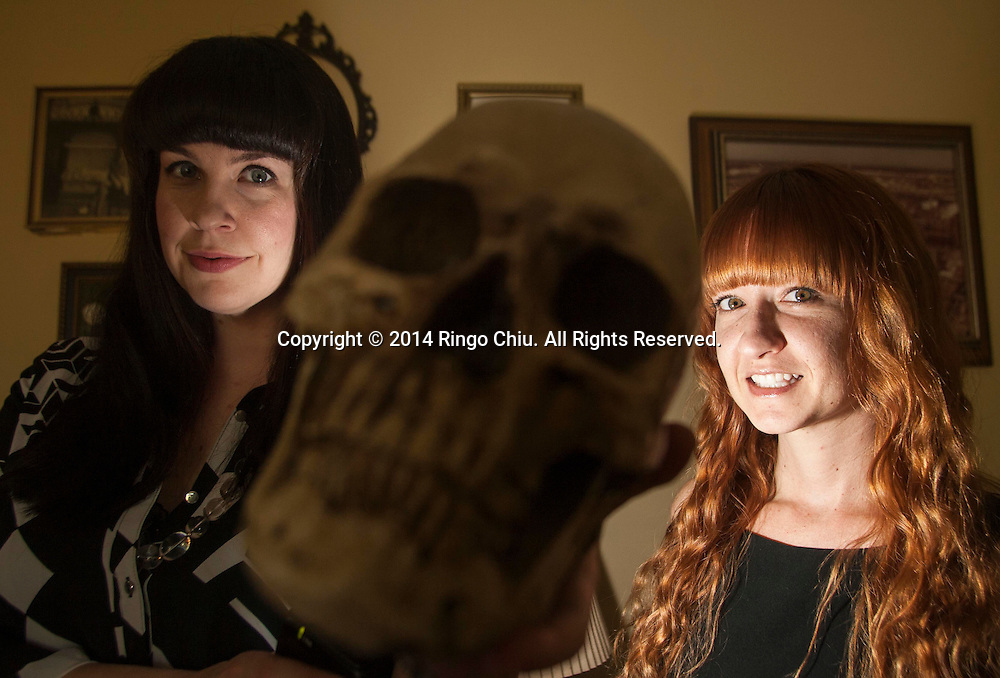 Mortician and author Caitlin Doughty, left, and her business partner Amber Carvaly.<br /> (Photo by Ringo Chiu/PHOTOFORMULA.com)