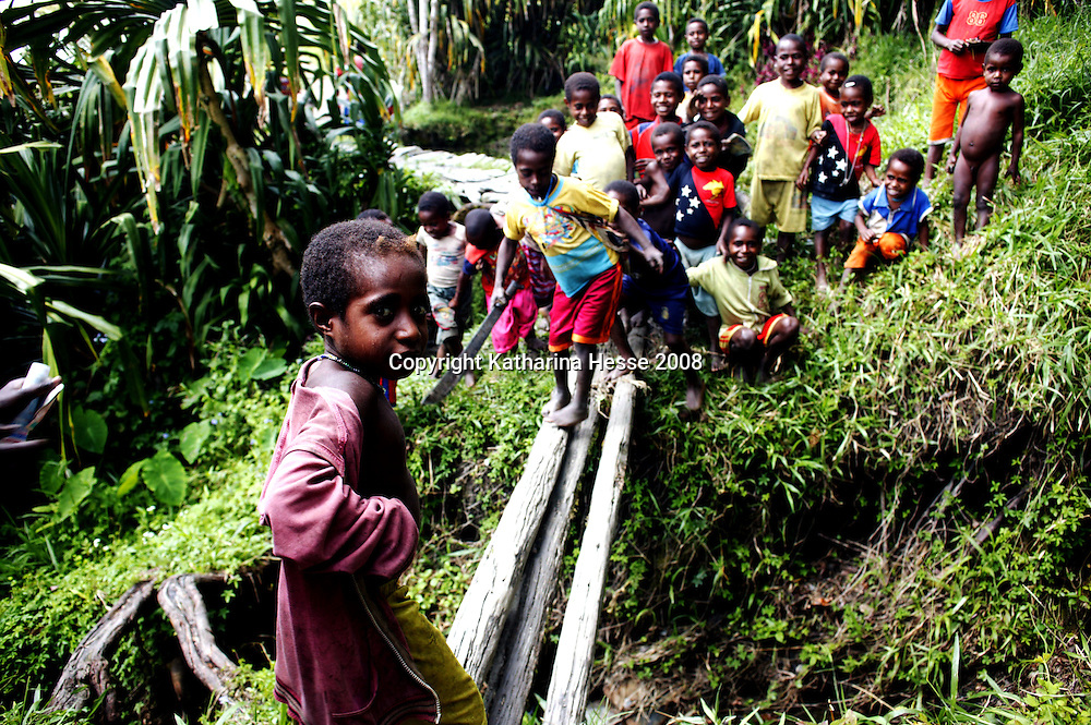 MAMIT,APRIL-30 :  children play on a bridge in Mamit village..  Logging is one of the major causes of environmental destruction in West Papua. As Indonesia's own forest resources decline, it has turned its attention to West Papua. Indonesia's forest practices generally have little or no attention paid to the environmental impact of logging. Many of the indigenous people of West Papua are threatened as vast tracts of land have been granted as concessions to timber companies, a practice which is having severe social and physical consequences. . The island of New Guinea is one of the most biologically diverse in the world. There are species of flora and fauna in common with Australia, such as some marsupials, the bird of paradise and eucalyptus trees. Numerous species, unique to the island, are threatened by logging and other development projects. . Second only to the Amazon, the island of New Guinea has one of the largest tracts of tropical rainforest left in the world. West Papua's forests, rich in bio-diversity, account for approximately 34.6 million hectares or 24 per cent of Indonesia's total forested area of 143 million hectares. Over 27.6 million hectares of forest in West Papua have been designated as production forest.