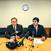 Ian Stewart/Yukon News<br /> Vuntut Gwitchin MLA Darius Elias, right, announced he has joined the Yukon Party caucus alongside Premier Darrell Pasloski on Monday. Elias sat as an independent after leaving the Liberal Party in August 2012.
