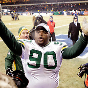 .Green Bay Packers' B.J. Raji blowing kisses to the fans after the Packers beat the Bears 21-14..The Green Bay Packers traveled to Soldier Field in Chicago to play the Chicago Bears in the NFC Championship Sunday January 23, 2011. Steve Apps-State Journal.